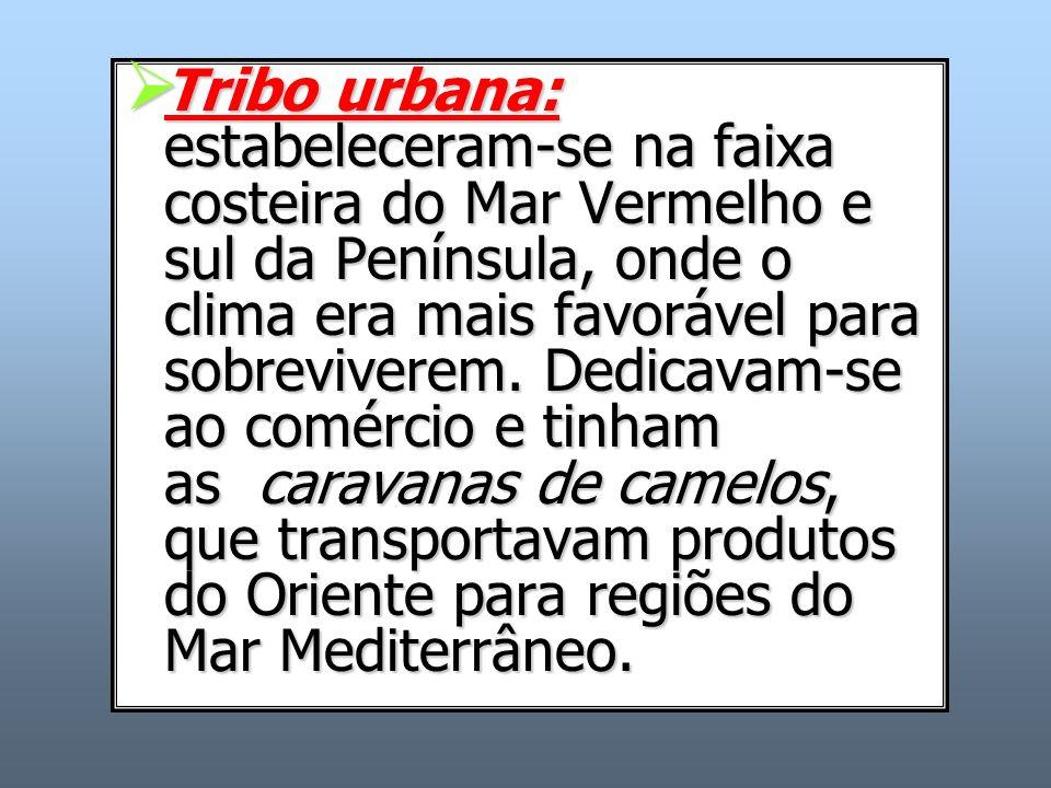 Tribo urbana: estabeleceram-se na faixa costeira do Mar Vermelho e sul da Península, onde o clima era mais favorável para sobreviverem. Dedicavam-se a