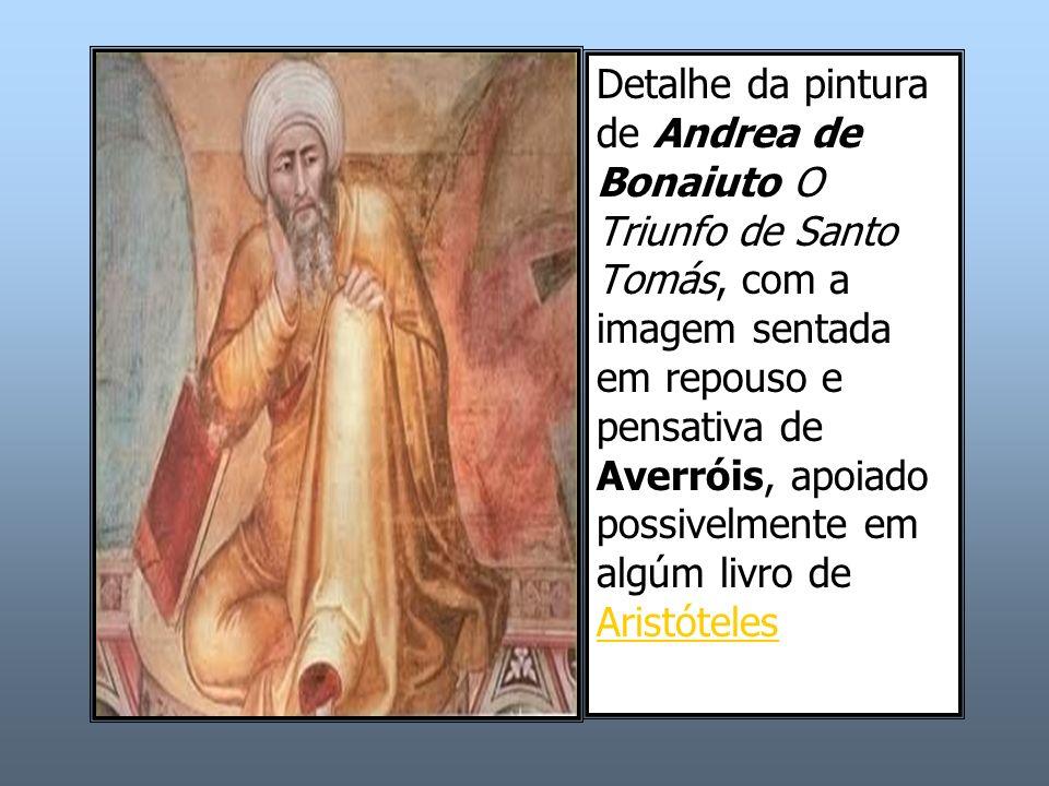 Detalhe da pintura de Andrea de Bonaiuto O Triunfo de Santo Tomás, com a imagem sentada em repouso e pensativa de Averróis, apoiado possivelmente em a