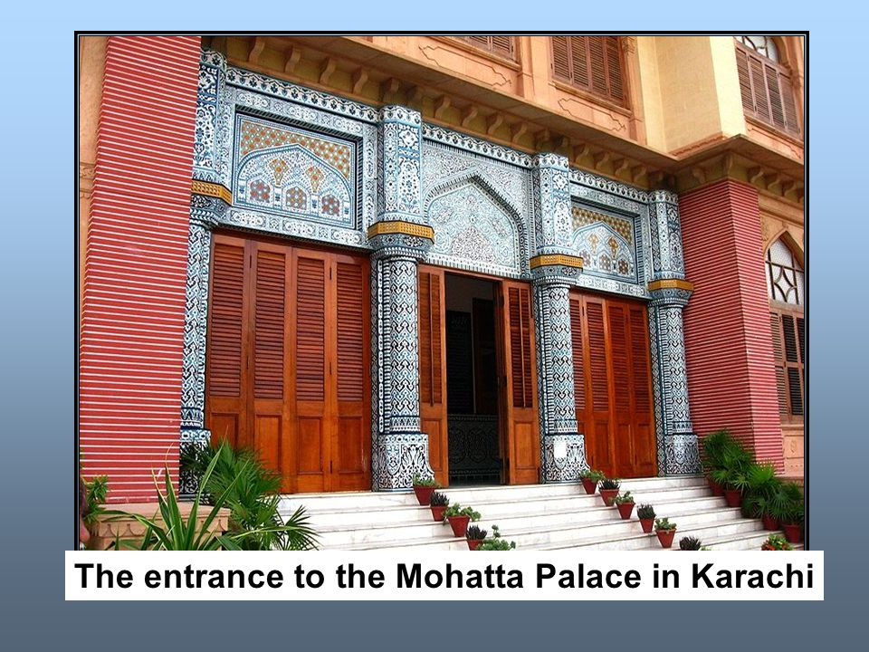 The entrance to the Mohatta Palace in Karachi