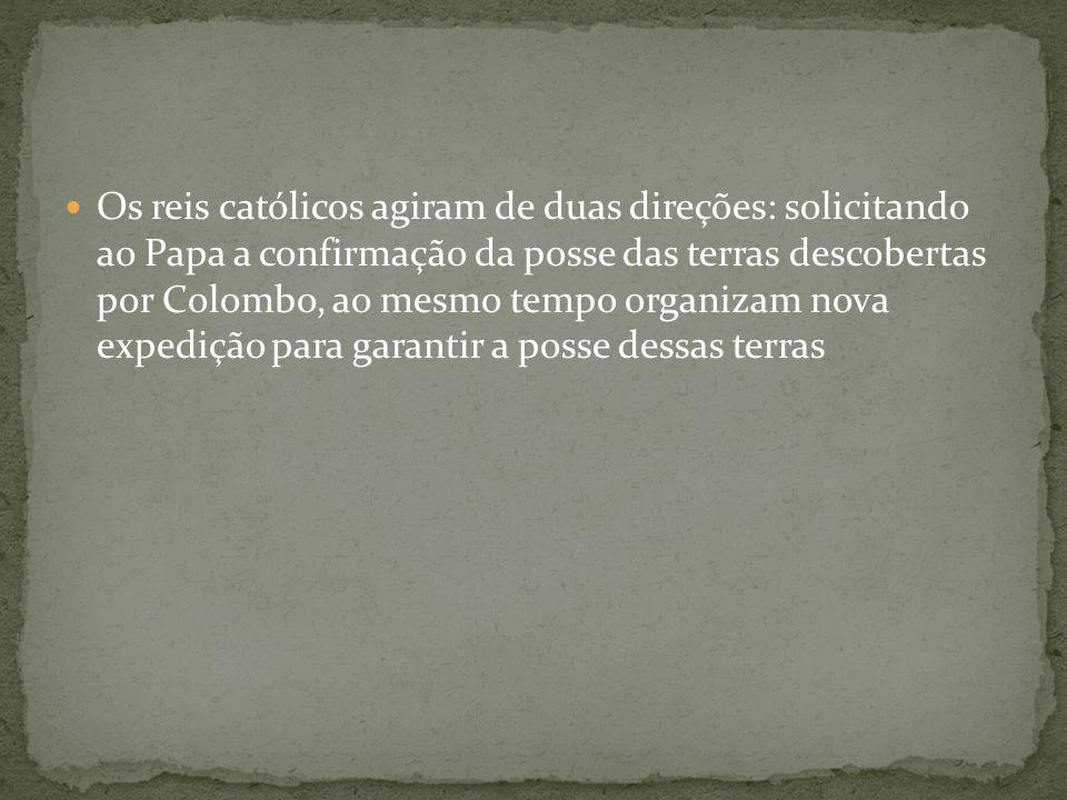 Os reis católicos agiram de duas direções: solicitando ao Papa a confirmação da posse das terras descobertas por Colombo, ao mesmo tempo organizam nov