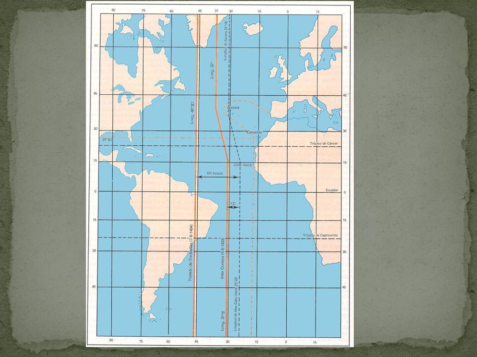 Pela Bula Inter Coetera II de 1493, a coroa de Leão e Castela ficava com todas as terras à oeste da linha de 100 léguas das ilhas de Açores e Cabo Verde.