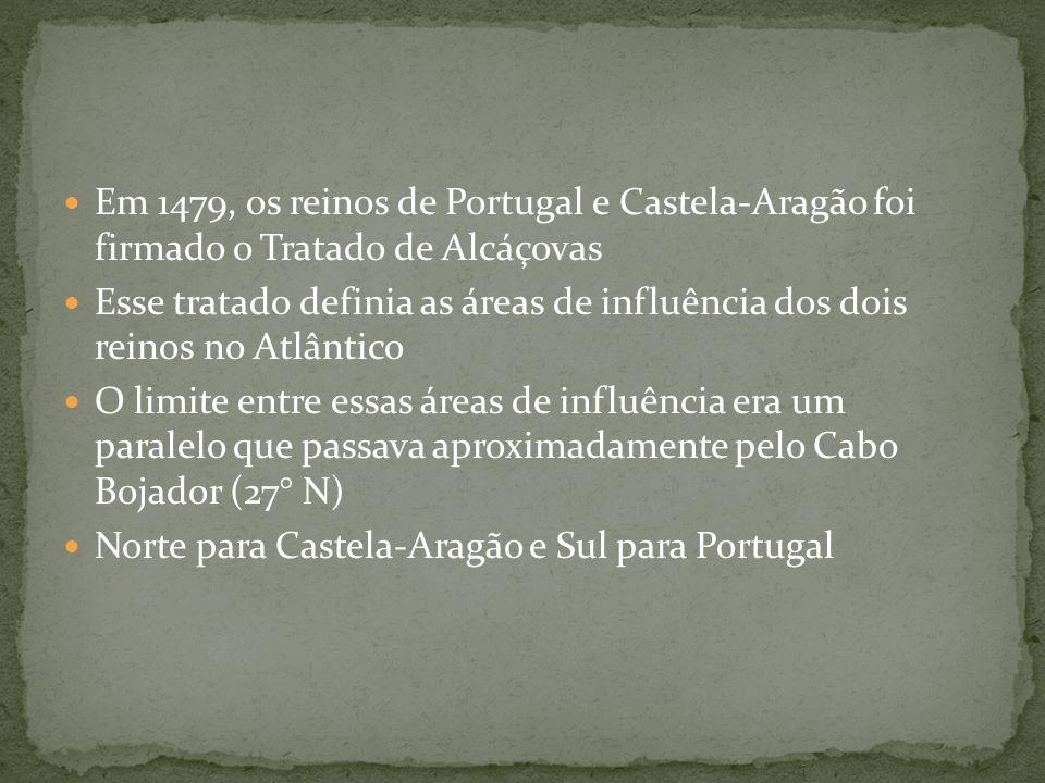 Em 1479, os reinos de Portugal e Castela-Aragão foi firmado o Tratado de Alcáçovas Esse tratado definia as áreas de influência dos dois reinos no Atlâ