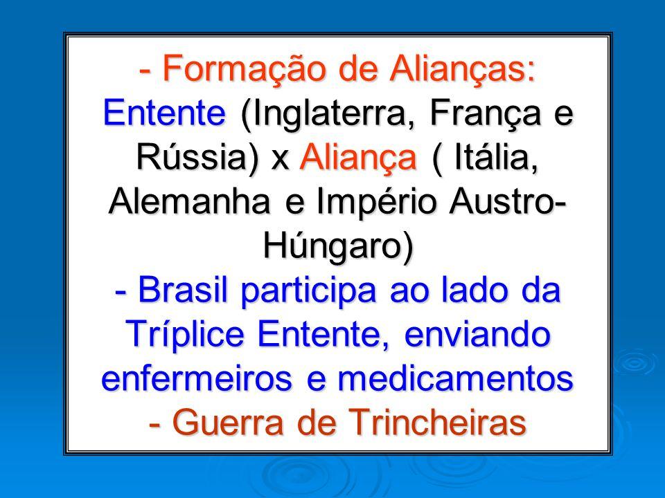 - Formação de Alianças: Entente (Inglaterra, França e Rússia) x Aliança ( Itália, Alemanha e Império Austro- Húngaro) - Brasil participa ao lado da Tr