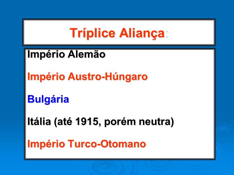 Tríplice Aliança: Império Alemão Império Austro-Húngaro Bulgária Itália (até 1915, porém neutra) Império Turco-Otomano