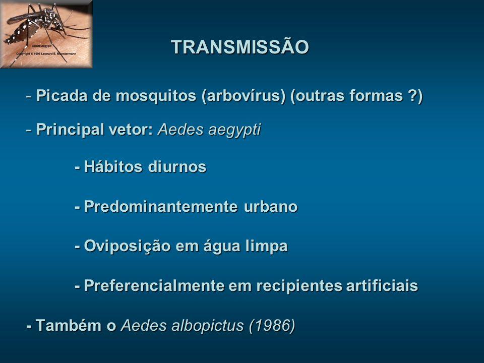 - Picada de mosquitos (arbovírus) (outras formas ?) - Principal vetor: Aedes aegypti - Hábitos diurnos - Predominantemente urbano - Oviposição em água limpa - Preferencialmente em recipientes artificiais - Também o Aedes albopictus (1986) TRANSMISSÃO