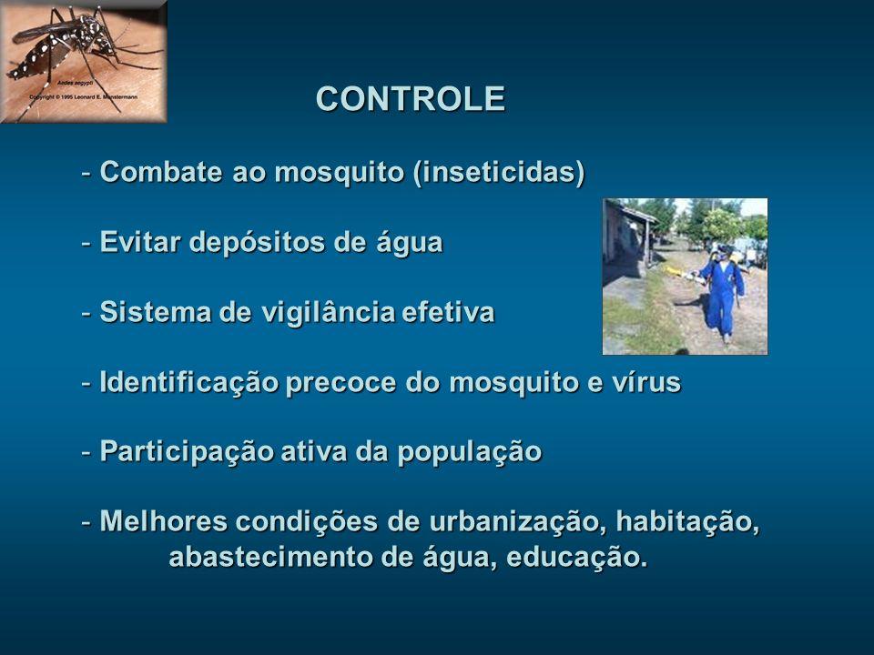 CONTROLE - Combate ao mosquito (inseticidas) - Evitar depósitos de água - Sistema de vigilância efetiva - Identificação precoce do mosquito e vírus - Participação ativa da população - Melhores condições de urbanização, habitação, abastecimento de água, educação.
