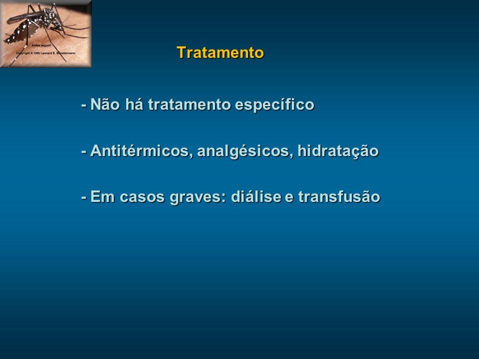 Tratamento - Não há tratamento específico - Antitérmicos, analgésicos, hidratação - Em casos graves: diálise e transfusão