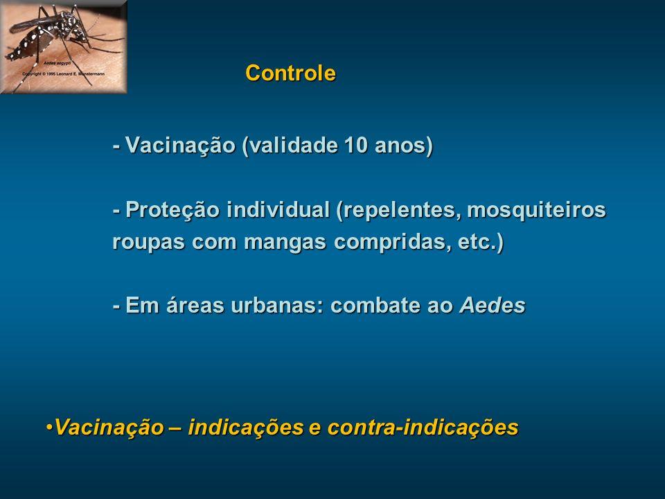 Controle - Vacinação (validade 10 anos) - Proteção individual (repelentes, mosquiteiros roupas com mangas compridas, etc.) - Em áreas urbanas: combate ao Aedes Vacinação – indicações e contra-indicaçõesVacinação – indicações e contra-indicações