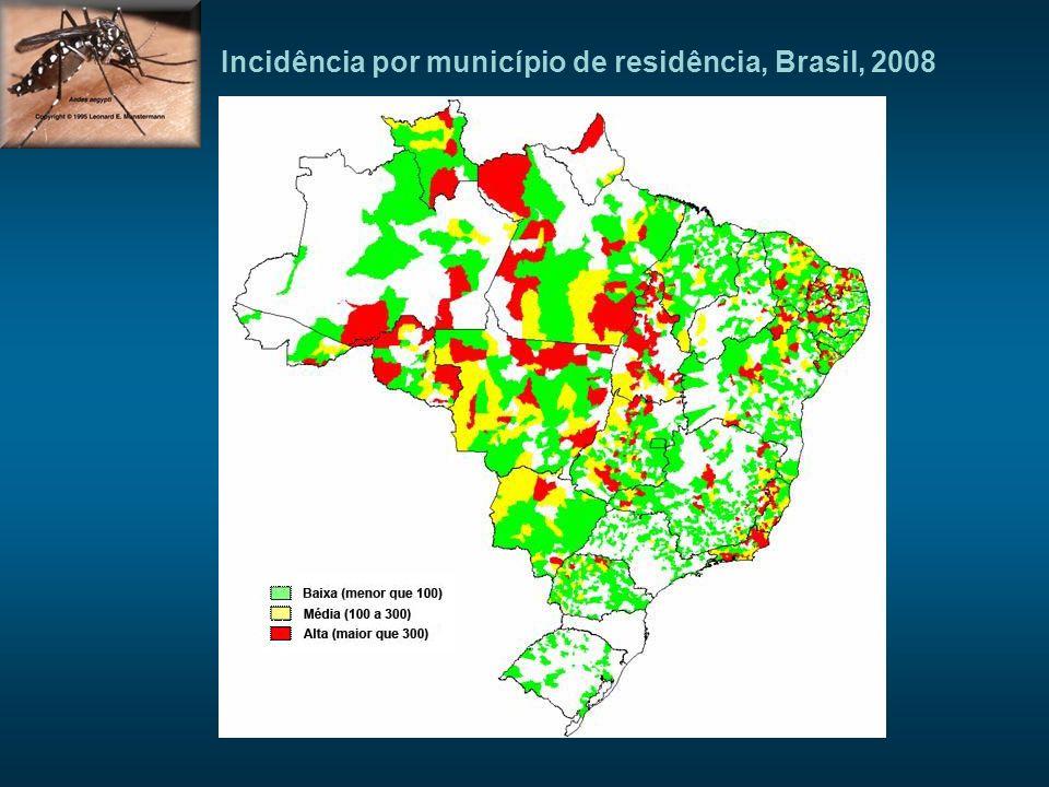 SITUAÇÃO EPIDEMIOLÓGICA Incidência por município de residência, Brasil, 2008