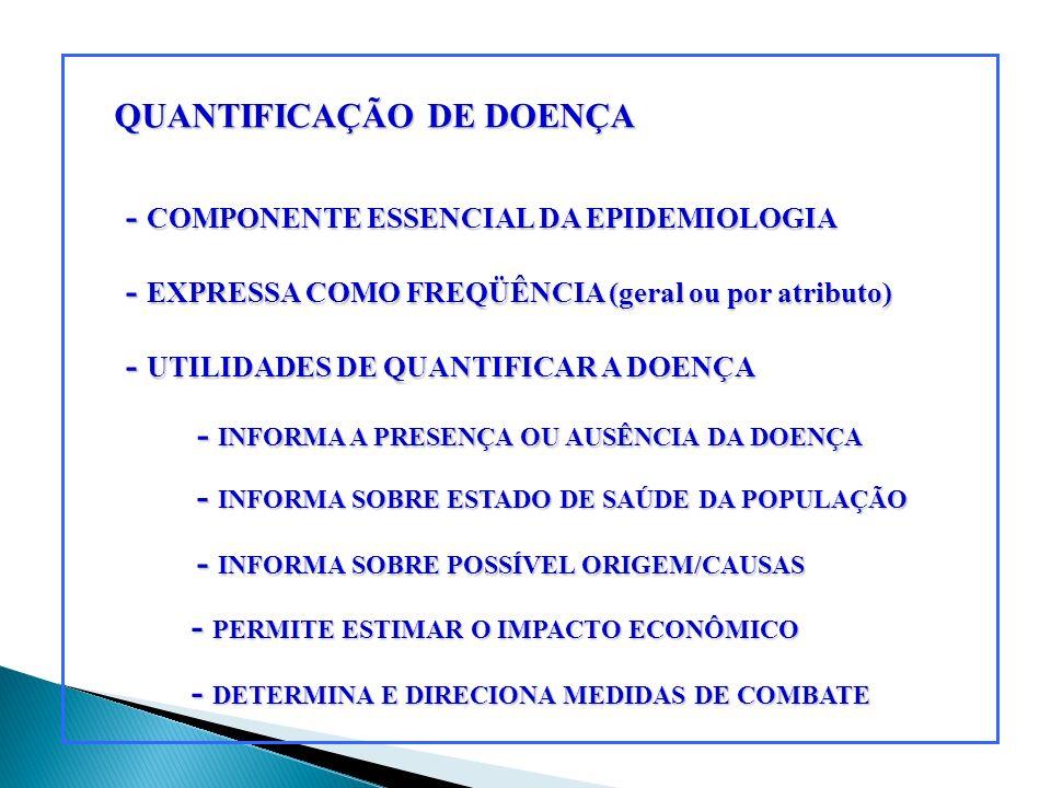 QUANTIFICAÇÃO DE DOENÇA - COMPONENTE ESSENCIAL DA EPIDEMIOLOGIA - EXPRESSA COMO FREQÜÊNCIA (geral ou por atributo) - UTILIDADES DE QUANTIFICAR A DOENÇ