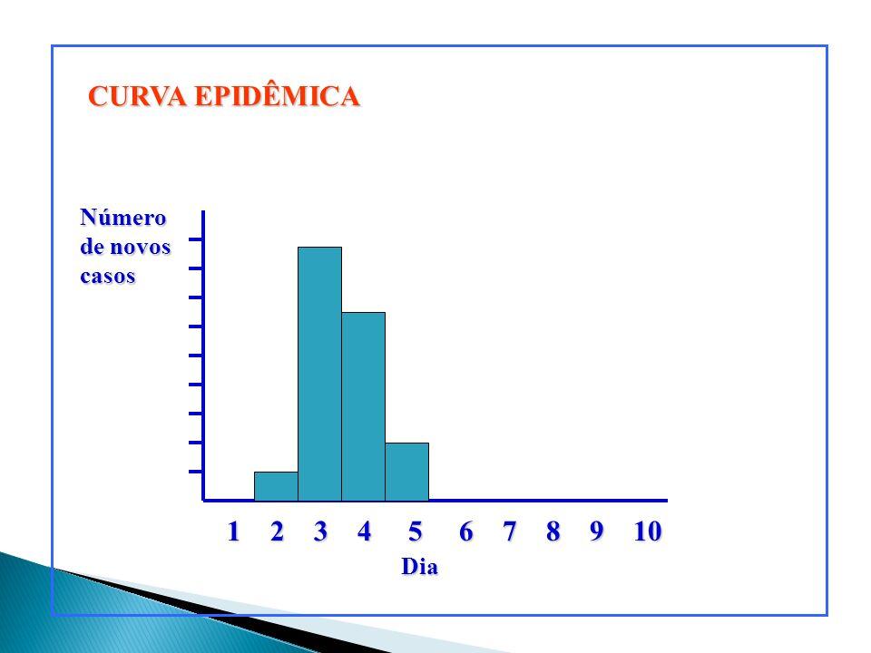 CURVA EPIDÊMICA 1 2 3 4 5 6 7 8 9 10 DiaNúmero de novos casos