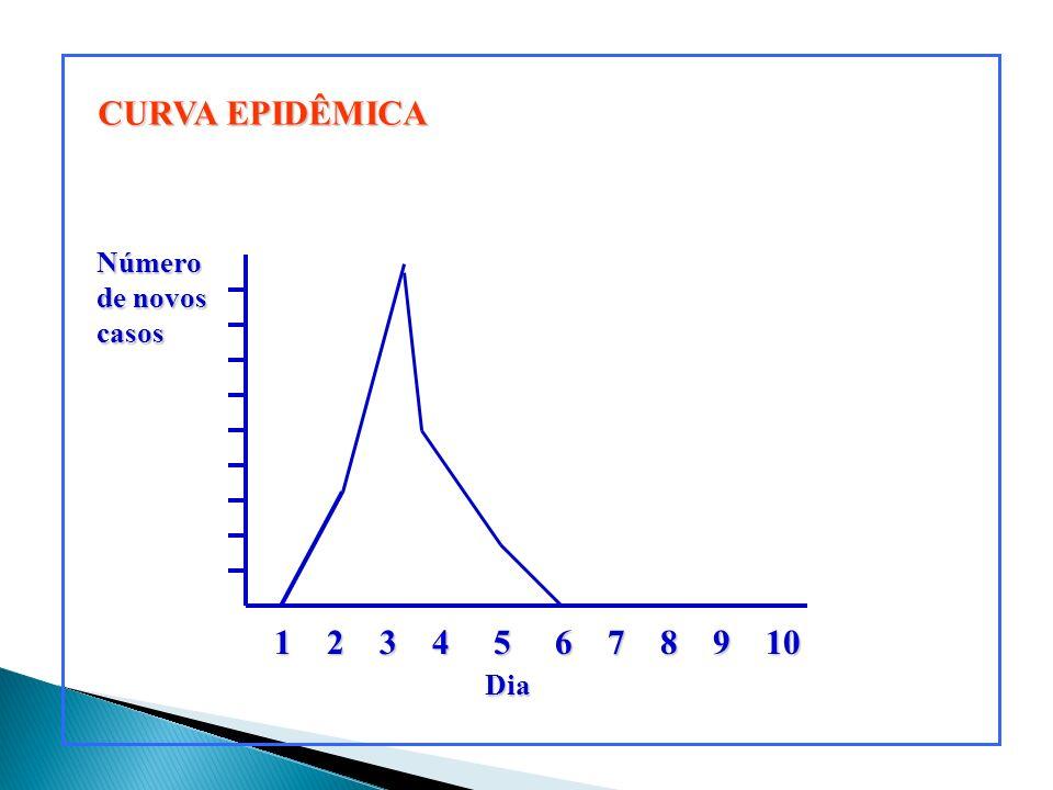 Fatores que determinam a inclinação da curva Número de novos casos 1 2 3 4 5 6 7 8 9 10 Dia A B