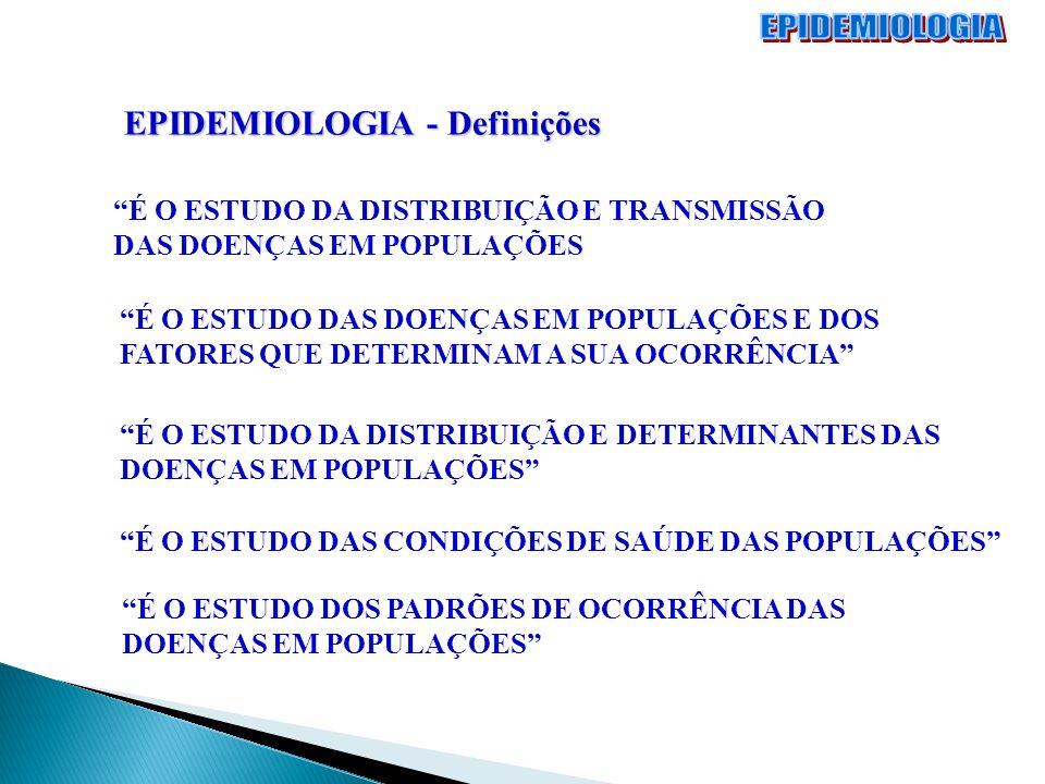 EPIDEMIOLOGIA - Definições É O ESTUDO DA DISTRIBUIÇÃO E TRANSMISSÃO DAS DOENÇAS EM POPULAÇÕES É O ESTUDO DAS DOENÇAS EM POPULAÇÕES E DOS FATORES QUE D