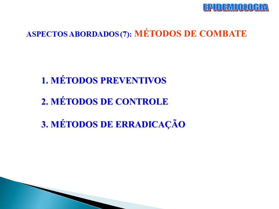 ASPECTOS ABORDADOS (7): ASPECTOS ABORDADOS (7): MÉTODOS DE COMBATE 1. MÉTODOS PREVENTIVOS 2. MÉTODOS DE CONTROLE 3. MÉTODOS DE ERRADICAÇÃO