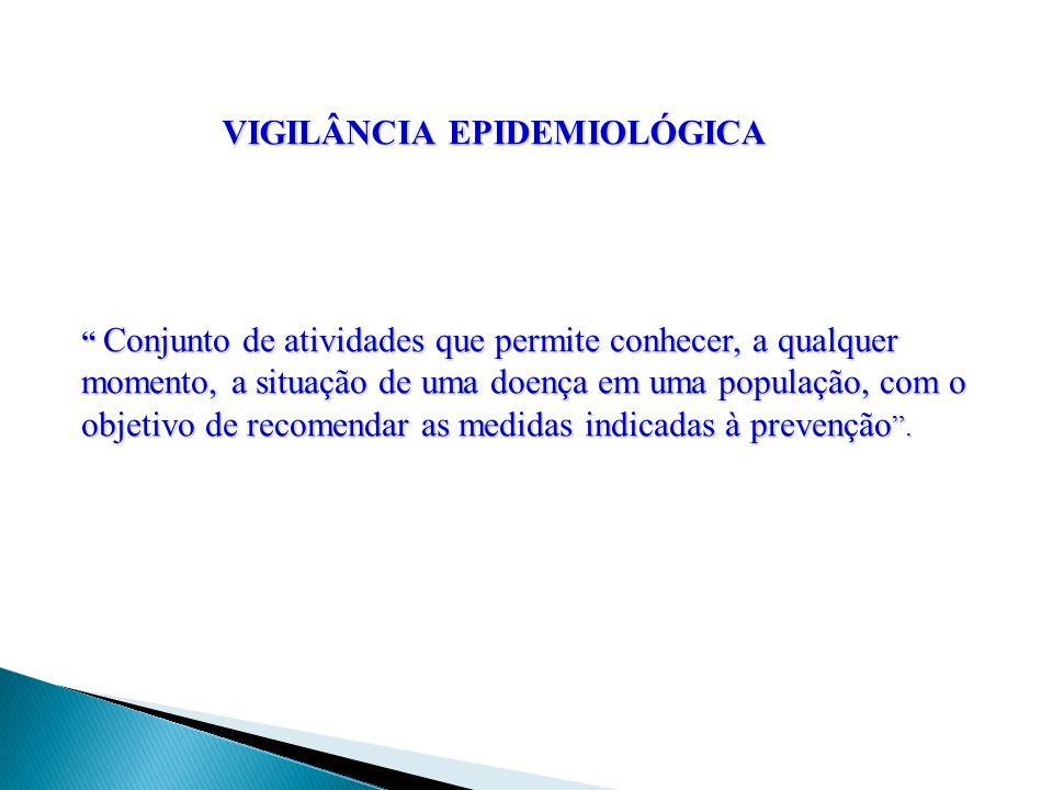VIGILÂNCIA EPIDEMIOLÓGICA Conjunto de atividades que permite conhecer, a qualquer momento, a situação de uma doença em uma população, com o objetivo d