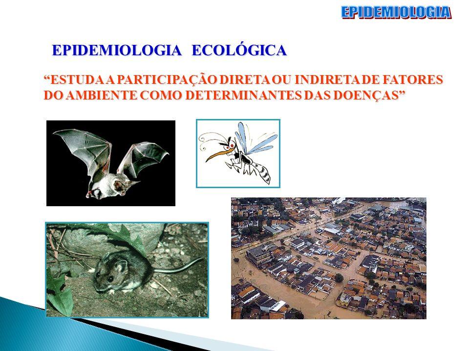 EPIDEMIOLOGIA ECOLÓGICA ESTUDA A PARTICIPAÇÃO DIRETA OU INDIRETA DE FATORES DO AMBIENTE COMO DETERMINANTES DAS DOENÇAS