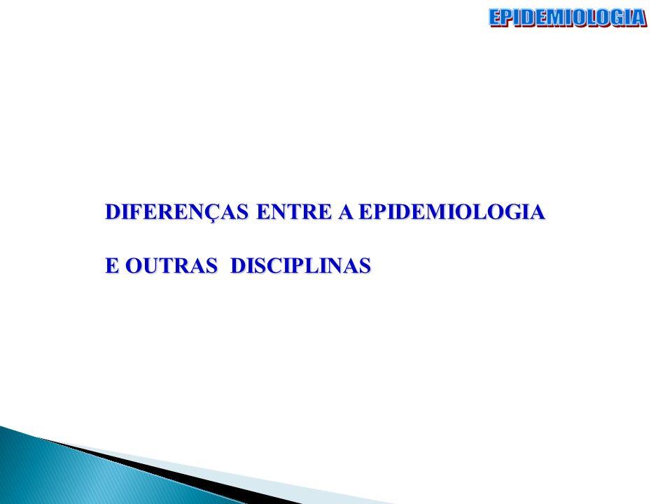 DIFERENÇAS ENTRE A EPIDEMIOLOGIA E OUTRAS DISCIPLINAS