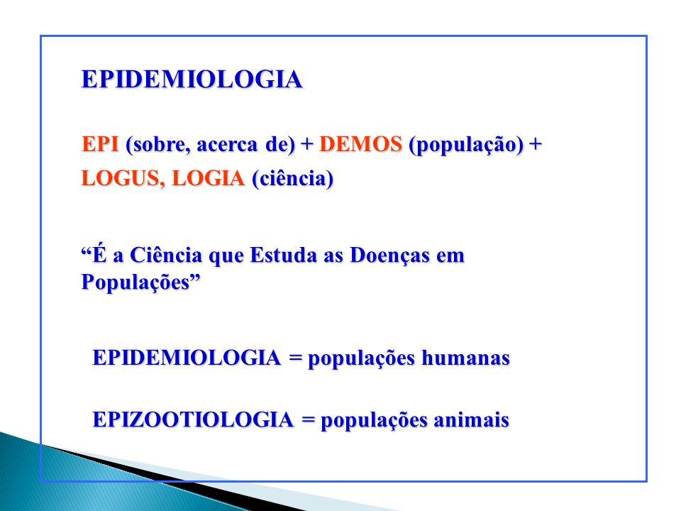 EPIDEMIOLOGIA EPIDEMIOLOGIA = populações humanas EPI (sobre, acerca de) + DEMOS (população) + EPI (sobre, acerca de) + DEMOS (população) + LOGUS, LOGI