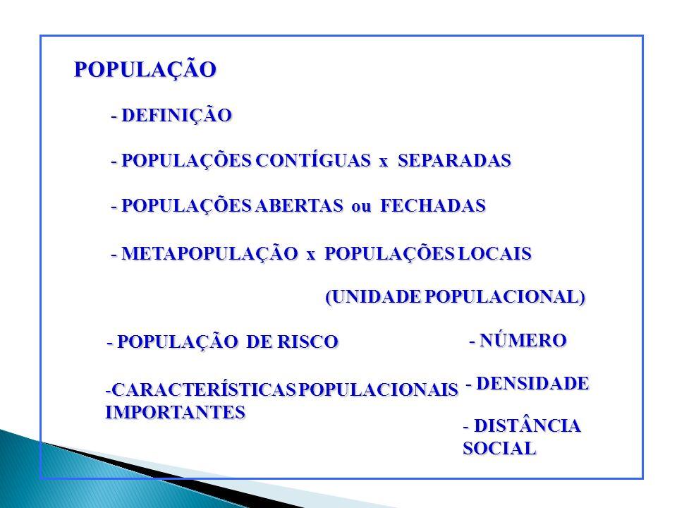 POPULAÇÃO - DEFINIÇÃO - POPULAÇÕES CONTÍGUAS x SEPARADAS - POPULAÇÕES ABERTAS ou FECHADAS - METAPOPULAÇÃO x POPULAÇÕES LOCAIS (UNIDADE POPULACIONAL) (