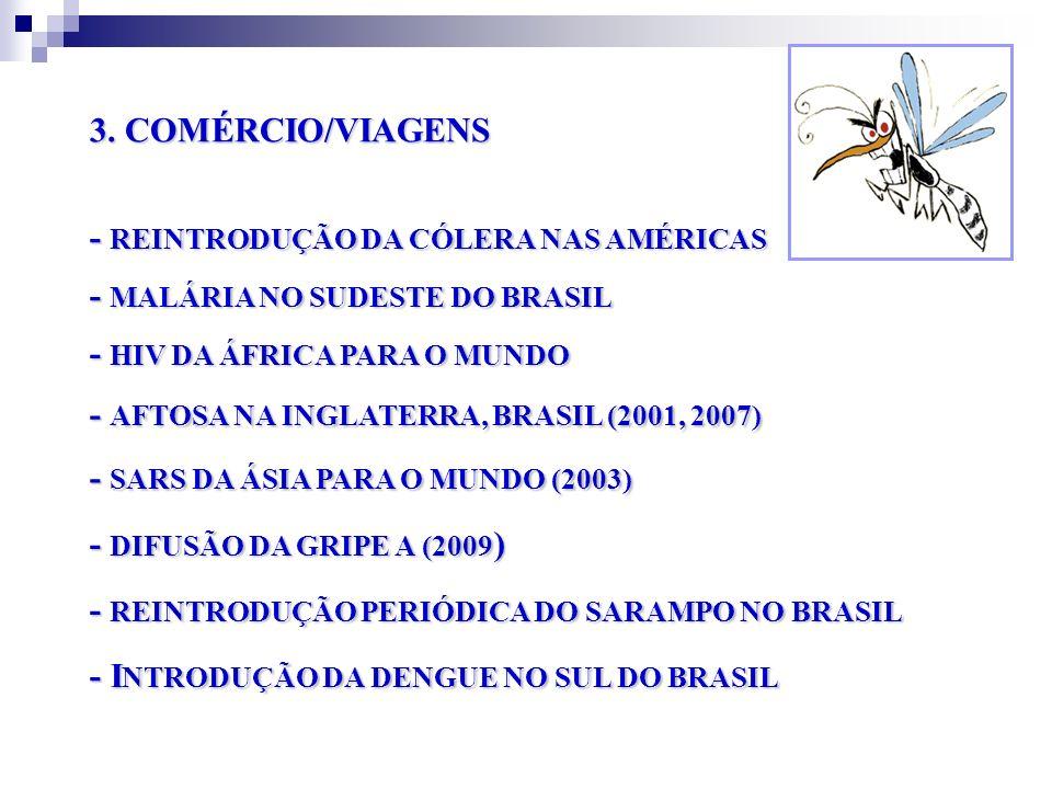 3. COMÉRCIO/VIAGENS - REINTRODUÇÃO DA CÓLERA NAS AMÉRICAS - MALÁRIA NO SUDESTE DO BRASIL - HIV DA ÁFRICA PARA O MUNDO - AFTOSA NA INGLATERRA, BRASIL (
