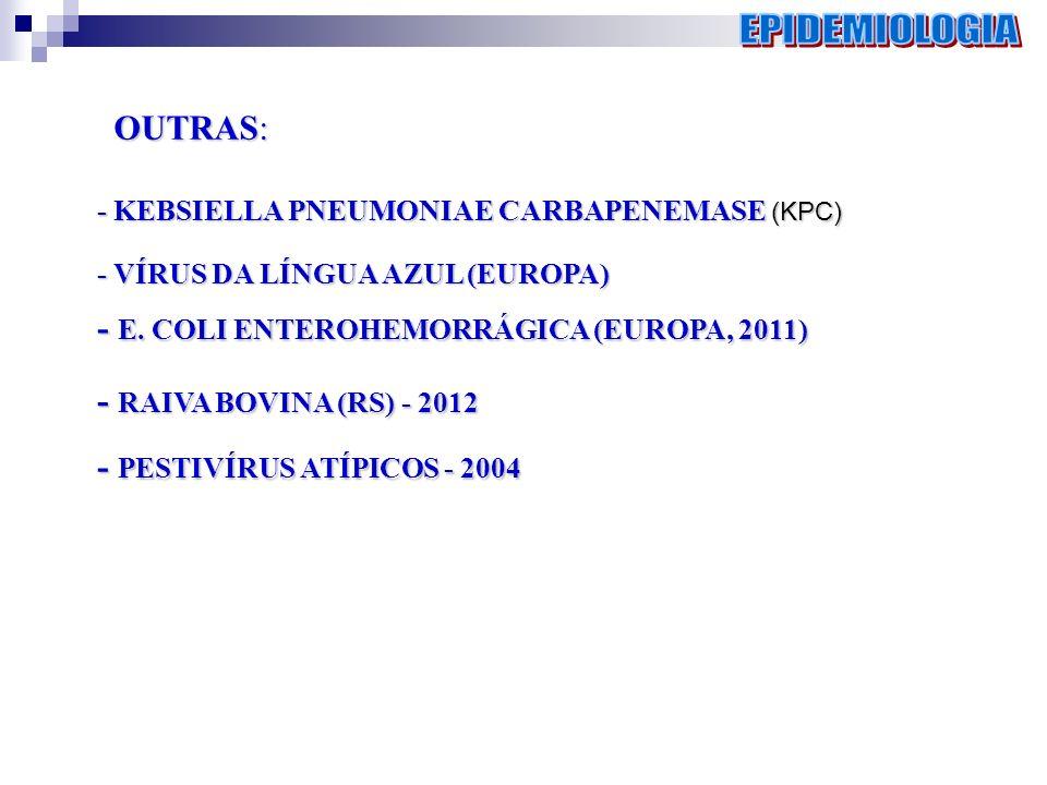 OUTRAS: - KEBSIELLA PNEUMONIAE CARBAPENEMASE (KPC) - KEBSIELLA PNEUMONIAE CARBAPENEMASE (KPC) - VÍRUS DA LÍNGUA AZUL (EUROPA) - E. COLI ENTEROHEMORRÁG