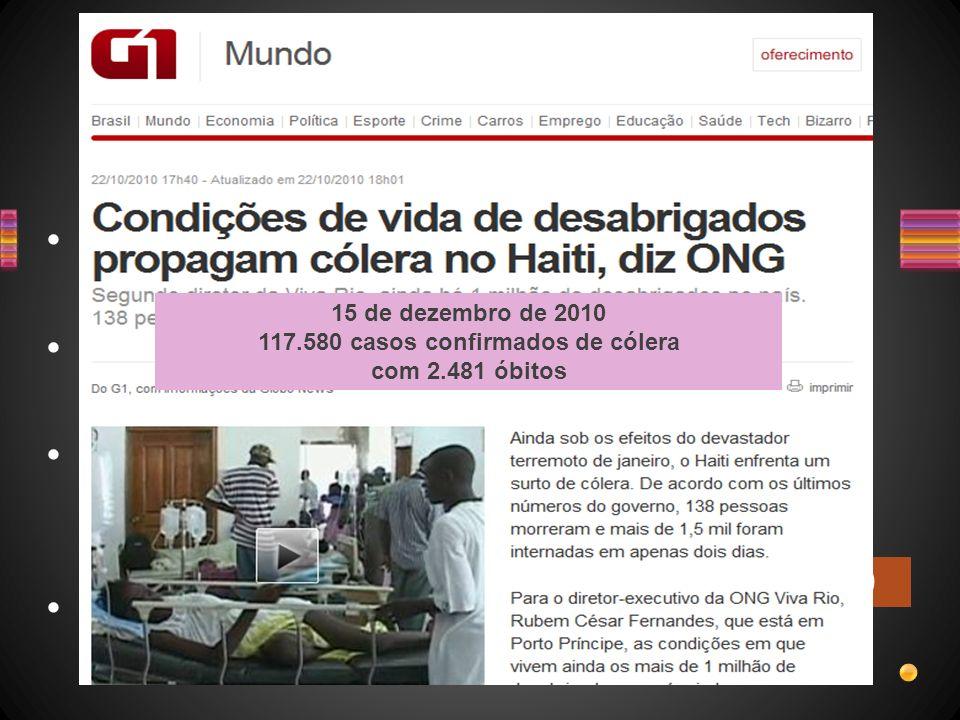 Cólera Vibrio cholerae *Toxina Bactéria, Gram - Doença de humanos, não tem animais reservatórios 7 pandemias desde século 19 HAITI - 2010 15 de dezemb