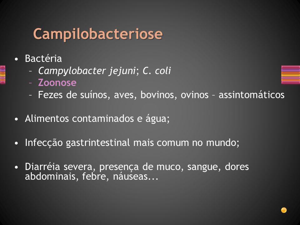 Campilobacteriose Bactéria –Campylobacter jejuni; C. coli –Zoonose –Fezes de suínos, aves, bovinos, ovinos – assintomáticos Alimentos contaminados e á
