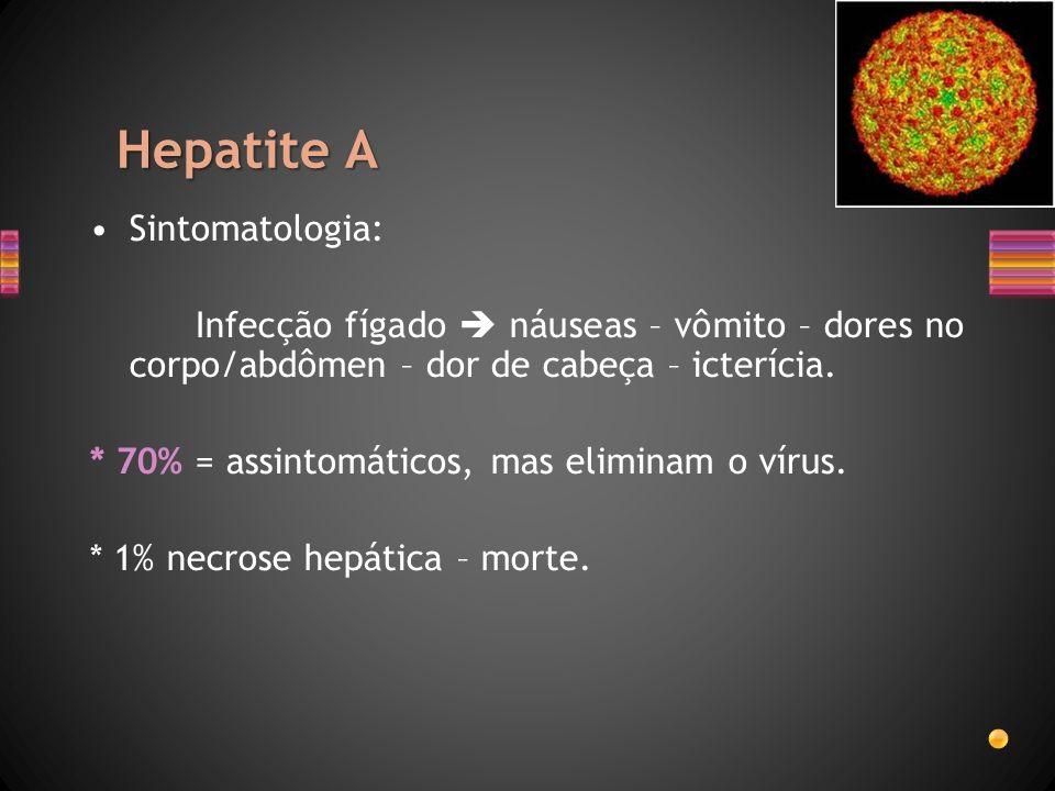 Hepatite A Sintomatologia: Infecção fígado náuseas – vômito – dores no corpo/abdômen – dor de cabeça – icterícia. * 70% = assintomáticos, mas eliminam