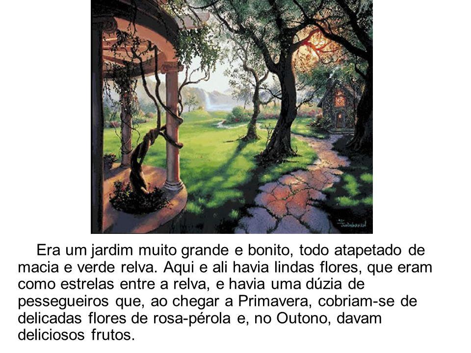 Era um jardim muito grande e bonito, todo atapetado de macia e verde relva. Aqui e ali havia lindas flores, que eram como estrelas entre a relva, e ha