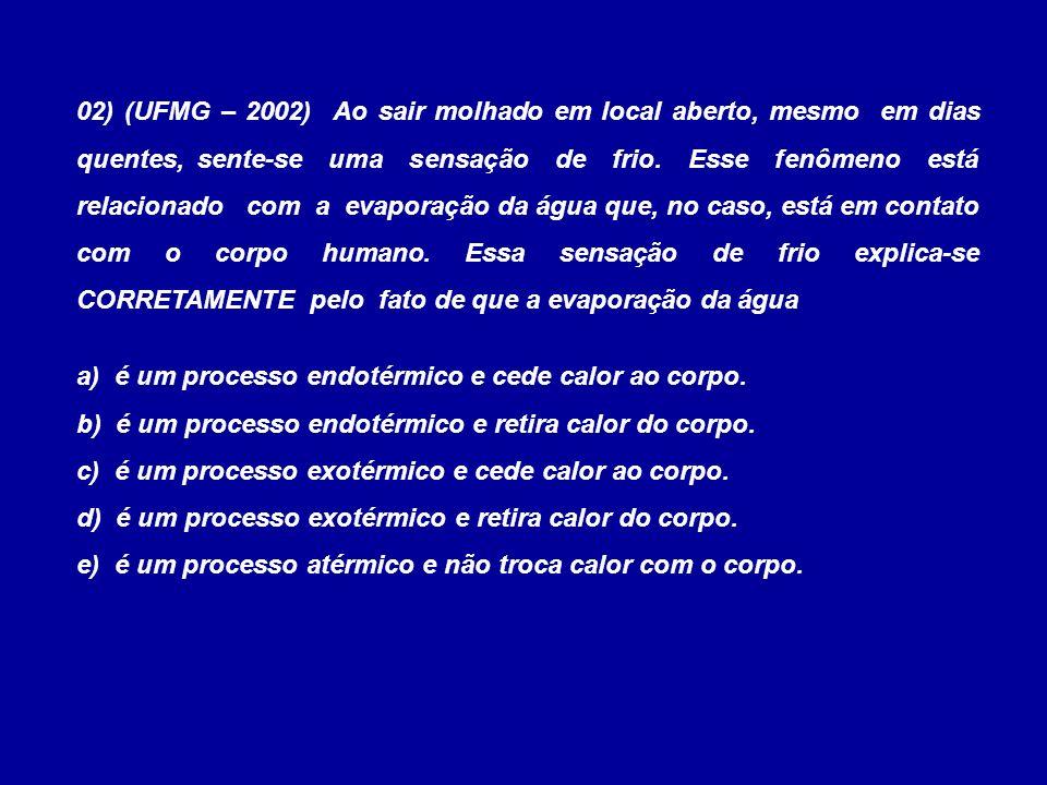 03) (Unesp-SP) Em uma cozinha, estão ocorrendo os seguintes processos: I.