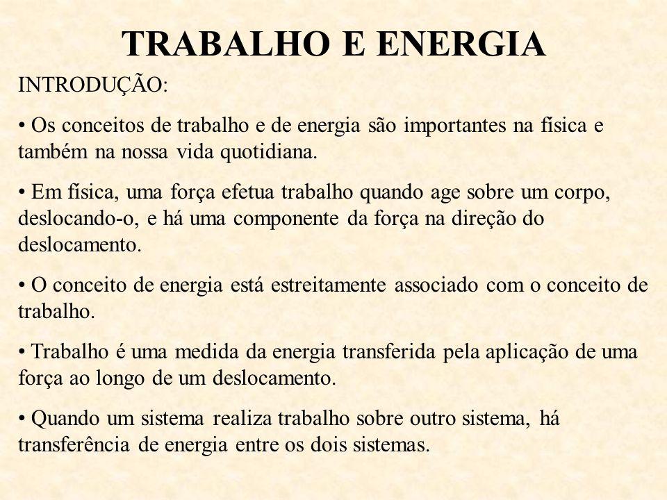 TRABALHO E ENERGIA INTRODUÇÃO: Os conceitos de trabalho e de energia são importantes na física e também na nossa vida quotidiana. Em física, uma força