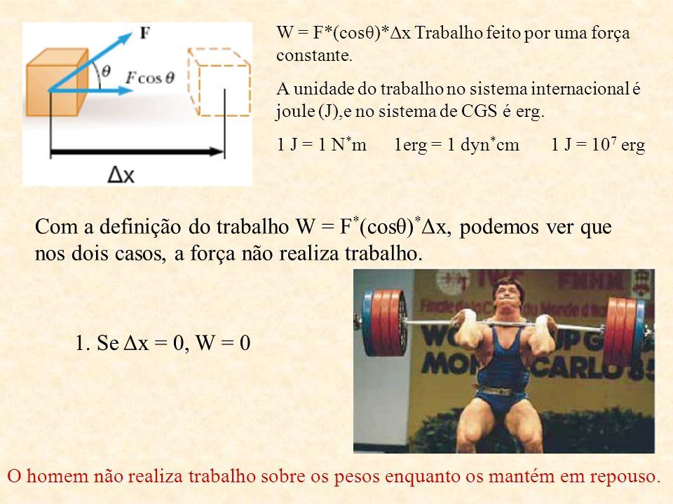 W = F*(cosθ)*Δx Trabalho feito por uma força constante. A unidade do trabalho no sistema internacional é joule (J),e no sistema de CGS é erg. 1 J = 1