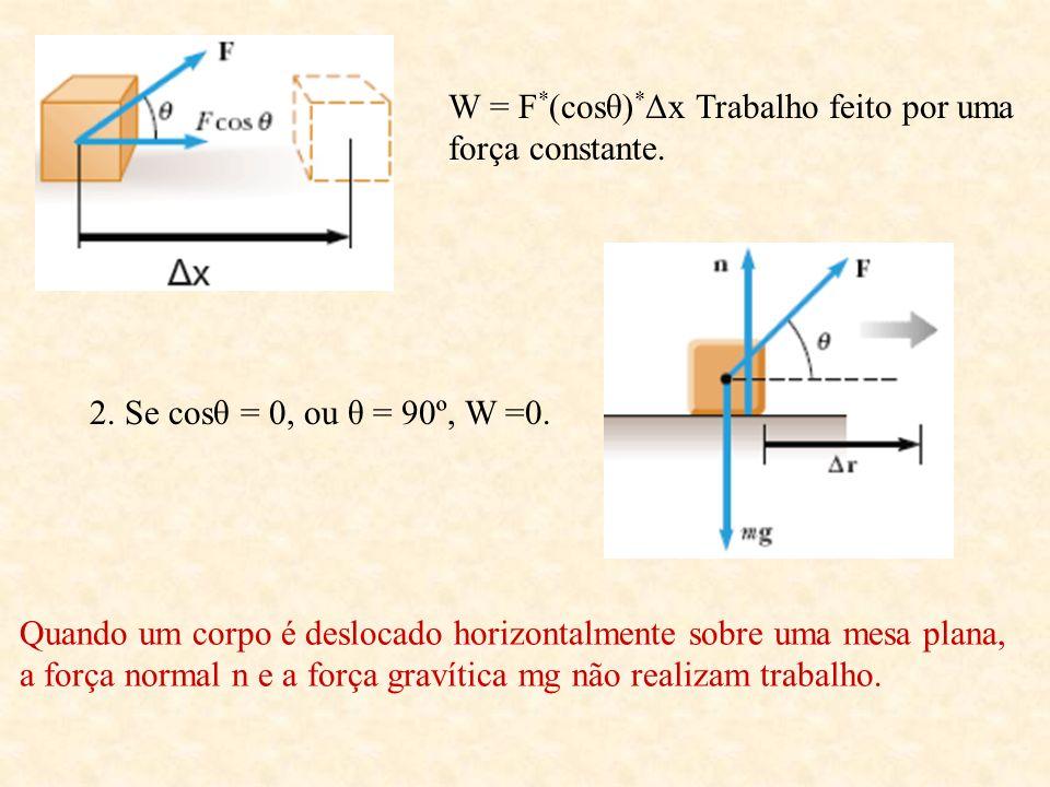 W = F * (cosθ) * Δx Trabalho feito por uma força constante. 2. Se cosθ = 0, ou θ = 90º, W =0. Quando um corpo é deslocado horizontalmente sobre uma me