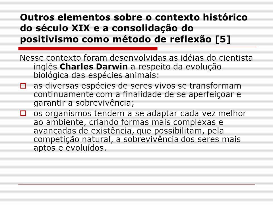 Outros elementos sobre o contexto histórico do século XIX e a consolidação do positivismo como método de reflexão [5] Nesse contexto foram desenvolvid