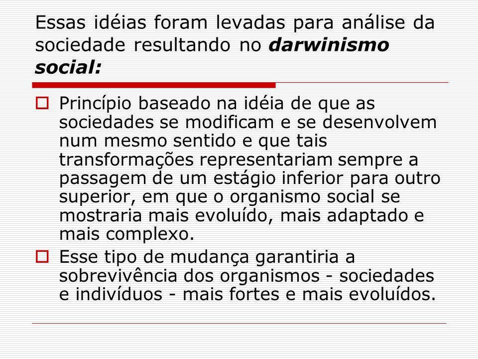 Essas idéias foram levadas para análise da sociedade resultando no darwinismo social: Princípio baseado na idéia de que as sociedades se modificam e s