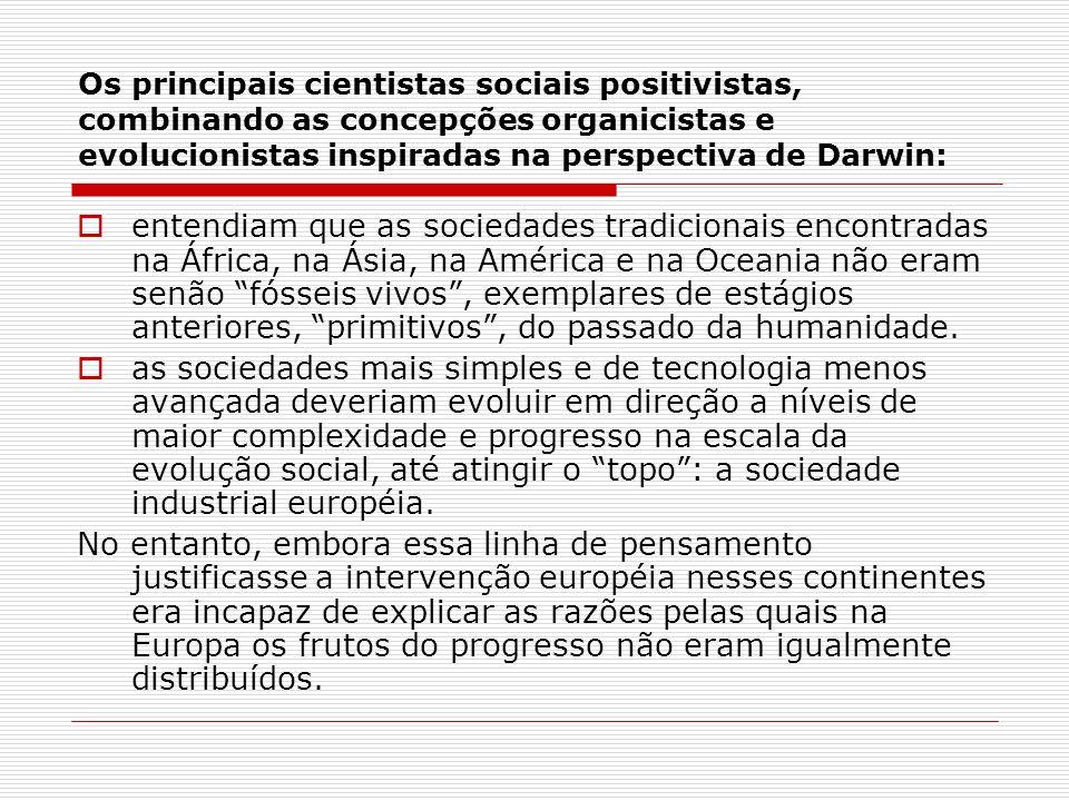 Os principais cientistas sociais positivistas, combinando as concepções organicistas e evolucionistas inspiradas na perspectiva de Darwin: entendiam q