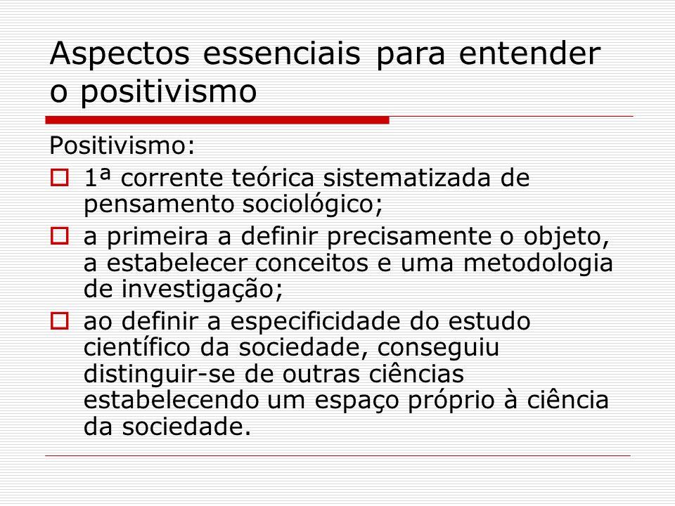 Aspectos essenciais para entender o positivismo Positivismo: 1ª corrente teórica sistematizada de pensamento sociológico; a primeira a definir precisa