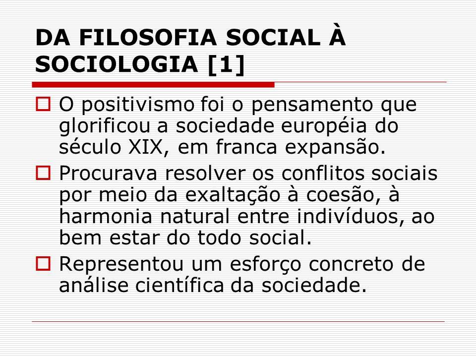 DA FILOSOFIA SOCIAL À SOCIOLOGIA [1] O positivismo foi o pensamento que glorificou a sociedade européia do século XIX, em franca expansão. Procurava r