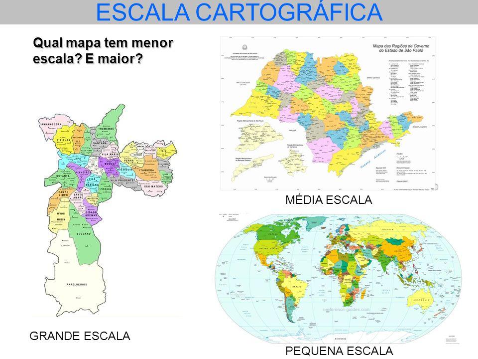 SE A ESCALA INDICA UMA PROPORÇÃO A RELAÇÃO É INVERSA, OU SEJA, UMA PEQUENA ESCALA COBRE UMA GRANDE PORÇÃO DO TERRENO Por exemplo, uma escala de 1/25.000 significa que 1 centímetro ou qualquer outra unidade de comprimento, no mapa, está representado 25.000 vezes menor do que no terreno.
