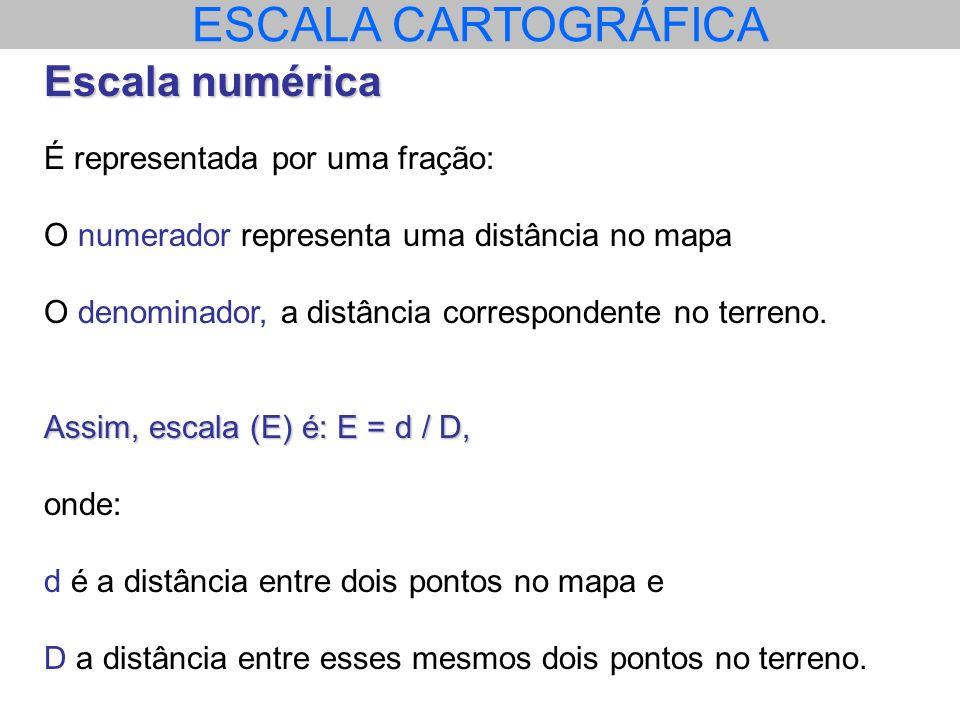 ESCALA CARTOGRÁFICA Escala numérica É representada por uma fração: O numerador representa uma distância no mapa O denominador, a distância corresponde