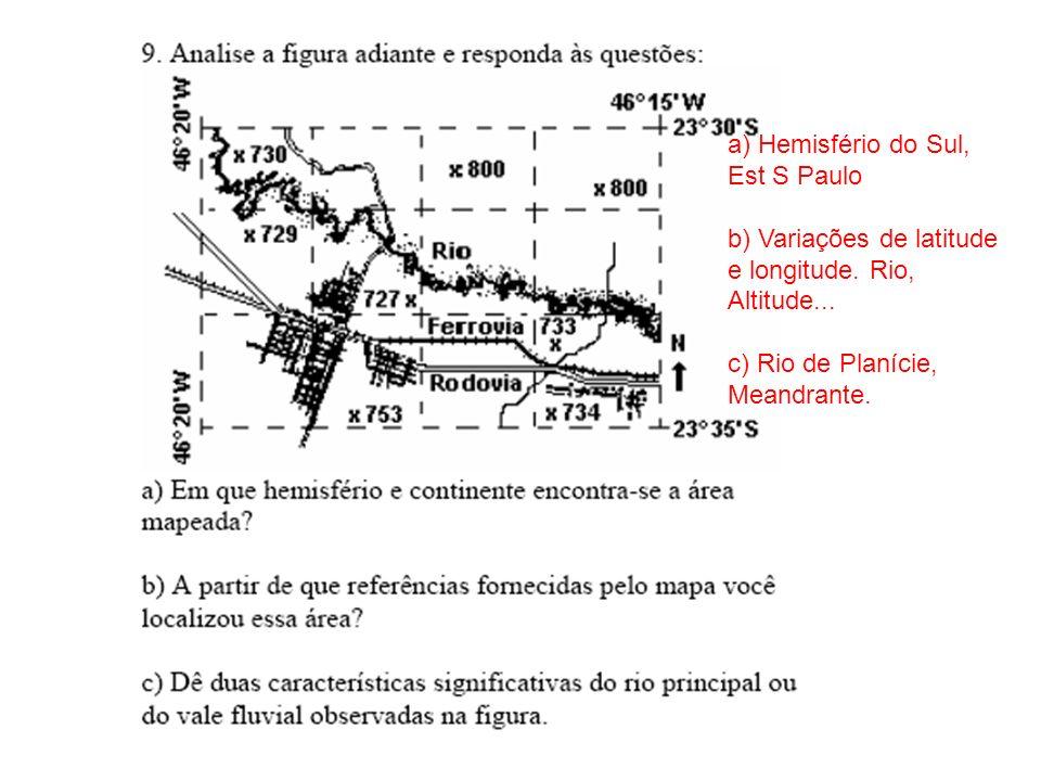 a) Hemisfério do Sul, Est S Paulo b) Variações de latitude e longitude.