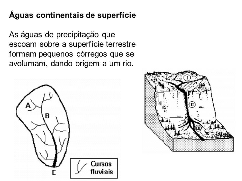 Águas continentais de superfície As águas de precipitação que escoam sobre a superfície terrestre formam pequenos córregos que se avolumam, dando origem a um rio.