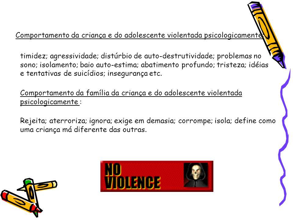 Comportamento da criança e do adolescente violentada psicologicamente: timidez; agressividade; distúrbio de auto-destrutividade; problemas no sono; is
