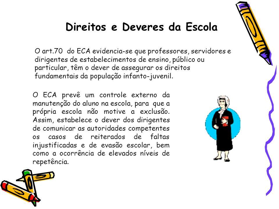 Direitos e Deveres da Escola O art.70 do ECA evidencia-se que professores, servidores e dirigentes de estabelecimentos de ensino, público ou particula