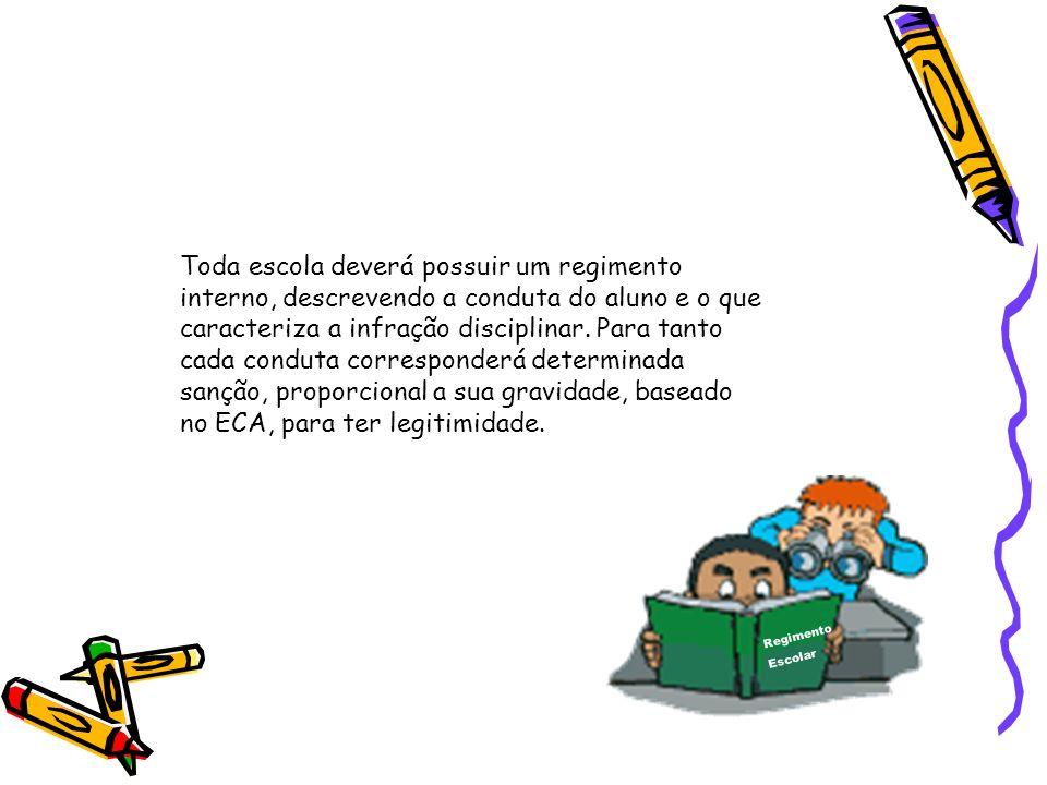 Toda escola deverá possuir um regimento interno, descrevendo a conduta do aluno e o que caracteriza a infração disciplinar. Para tanto cada conduta co