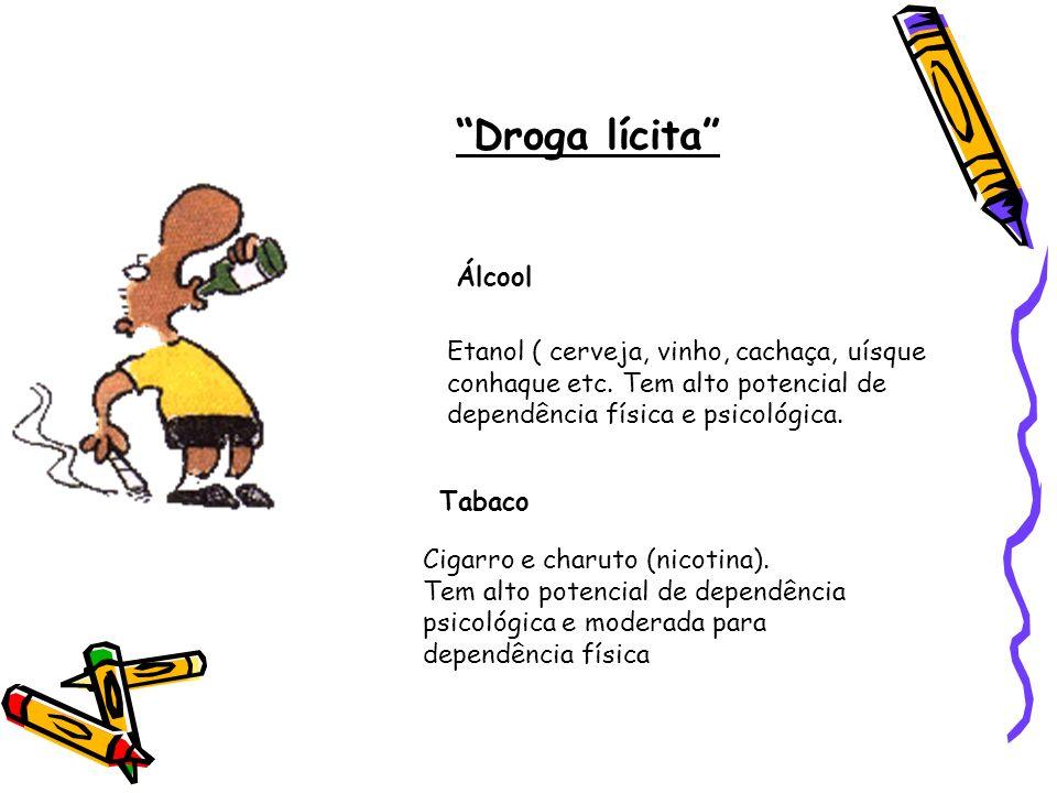 Droga lícita Álcool Etanol ( cerveja, vinho, cachaça, uísque conhaque etc. Tem alto potencial de dependência física e psicológica. Tabaco Cigarro e ch