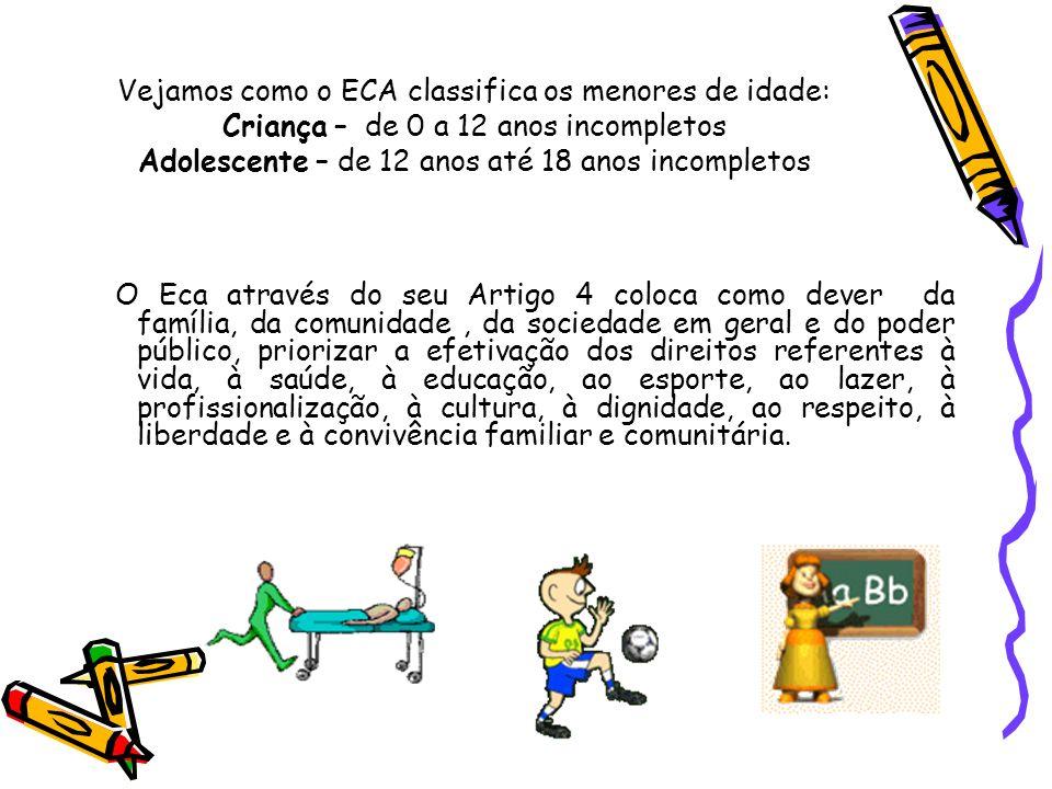 Vejamos como o ECA classifica os menores de idade: Criança – de 0 a 12 anos incompletos Adolescente – de 12 anos até 18 anos incompletos O Eca através