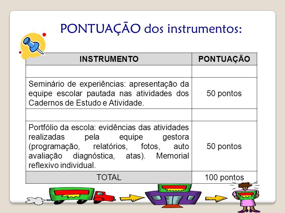 INSTRUMENTOPONTUAÇÃO Seminário de experiências: apresentação da equipe escolar pautada nas atividades dos Cadernos de Estudo e Atividade. 50 pontos Po
