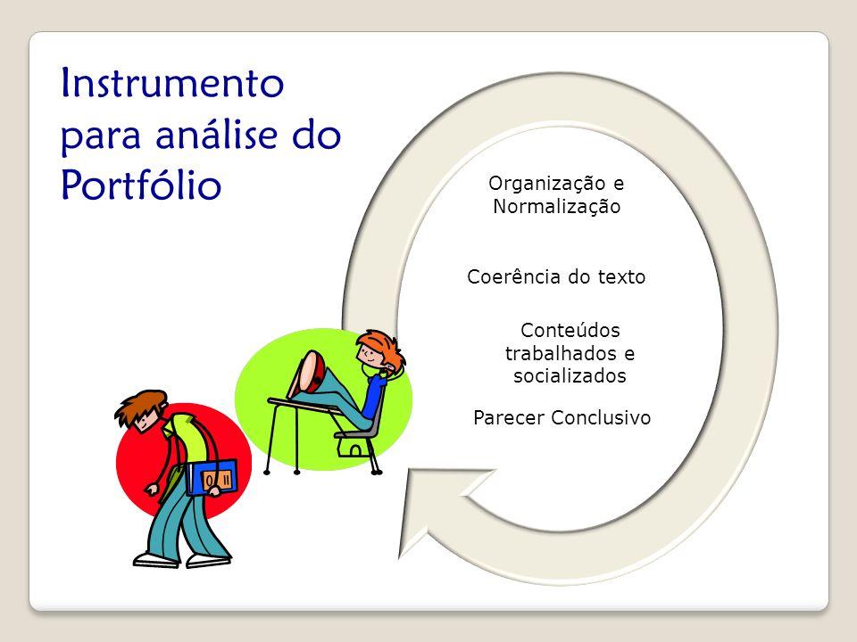 Organização e Normalização Coerência do texto Conteúdos trabalhados e socializados Parecer Conclusivo Instrumento para análise do Portfólio