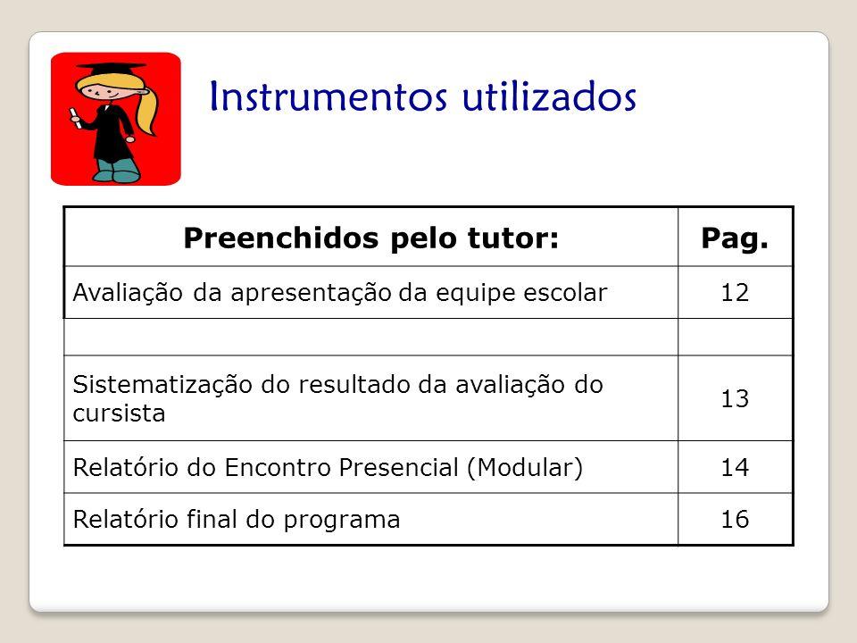 Instrumentos utilizados Preenchidos pelo tutor:Pag. Avaliação da apresentação da equipe escolar12 Sistematização do resultado da avaliação do cursista